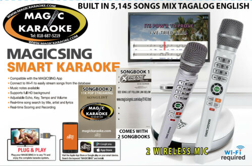 Magic Sing Karaoke E2 TWO Wireless Mic 5,145 BUILTIN TAGALOG ENGLISH SONGS wifi
