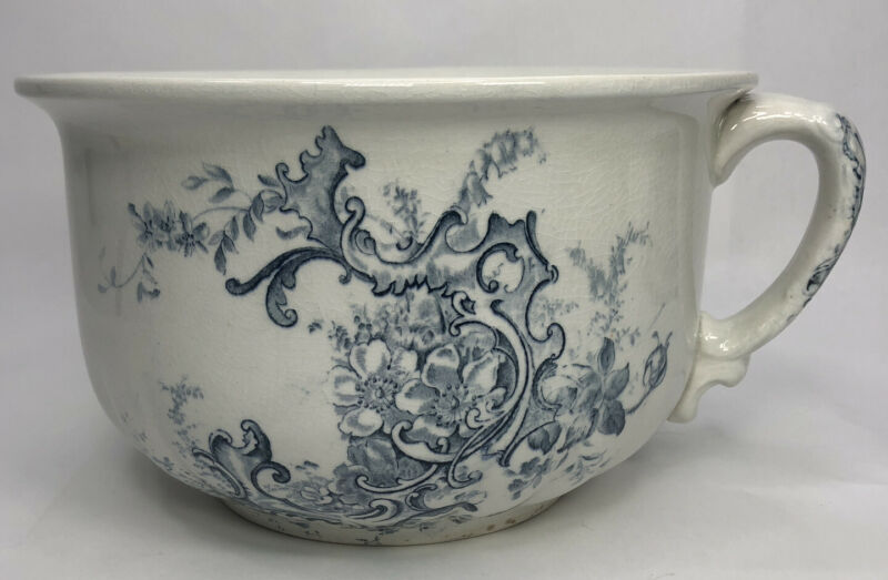 Antique Victorian Chamber Pot Blue Transferware Semi Porcelain Marked Doric