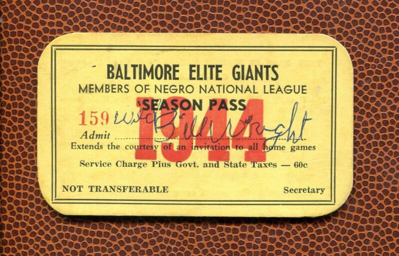 1944 Wild Bill Wright Baltimore Elite Giants Negro League Baseball Season Pass