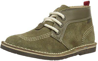 Kickers Adlar Older Kids UK 2 EU 34 Olive Green Suede Leather Desert Boots Shoes Olive Suede Kids Shoes