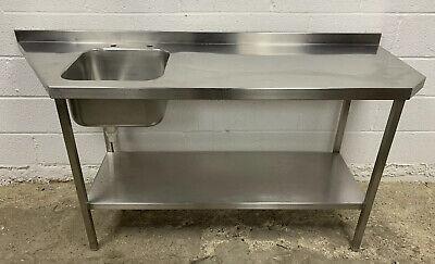 STAINLESS STEEL SINGLE BOWL SINK & PREPARATION TABLE 1850 MM WIDE £220 + VAT