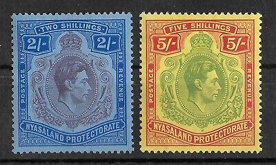NYASALAND 1938-1944 Mint LH Set of 2 Stamps SG #140-141 CV £75 VF