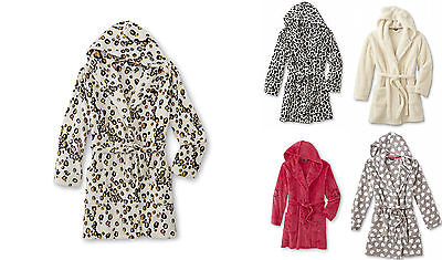 JOE BOXER Plush Hooded Leopard Robe Short Length 38