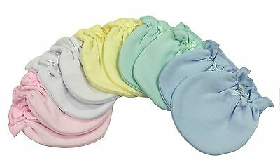 Solid Mix 5 Pairs 100% Cotton Newborn Baby/Infant Anti-scratch Mittens Gloves