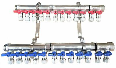 1 12-loopport Ball Valve Brass Pex Manifold For 12 Pex Tubing W Brackets