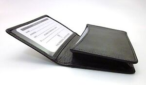 ILI BLACK LEATHER BUSINESS CARD CASE ~ LEATHER CREDIT CARD HOLDER ~ NEW IN BOX