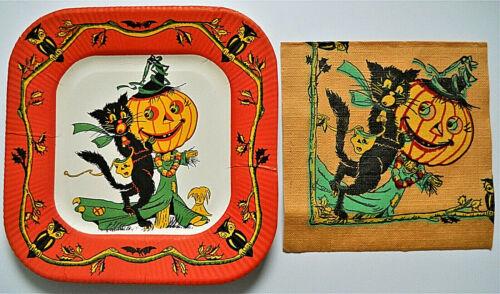 Vintage Halloween Paper Luncheon Plate/Napkin  Black Cat/Scarecrow/Owls 1940s