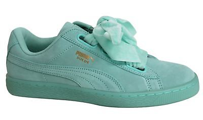 Puma Suede Heart Reset Lace Up Aruba Blue Leather Womens Trainers 363229 01 D83