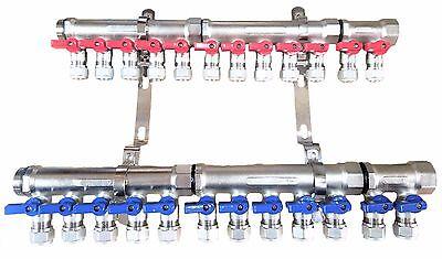 1 12-loopport Ball Valve Brass Pex Manifold For 12 Pex Tubing W Brackets