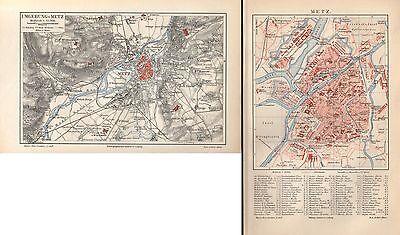 METZ u.Umgebung Sablon Stadtplan  Vantoux Landkarte von 1896