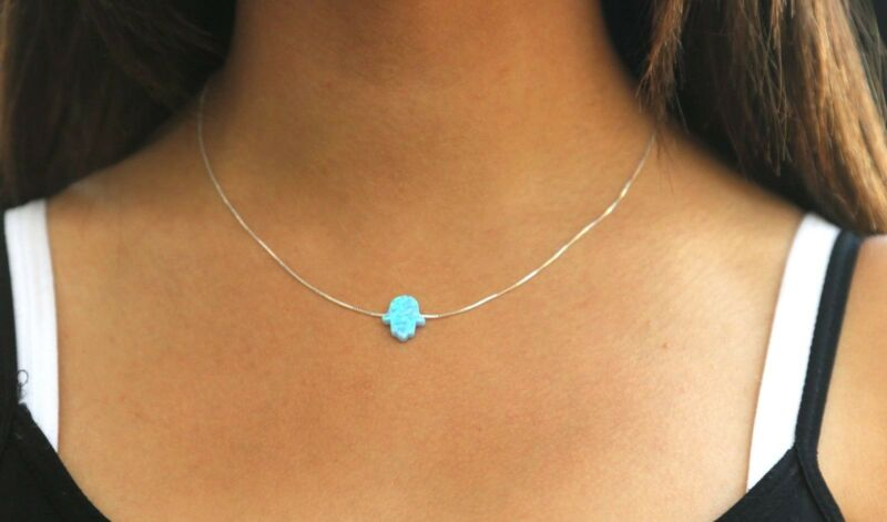 Hamsa necklace opal hamsa necklace blue opal necklace sterling silver luck chain