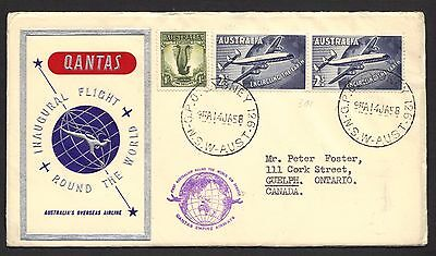 1958 cover for QANTAS first round-the-world flight, with two Australian RTW stam