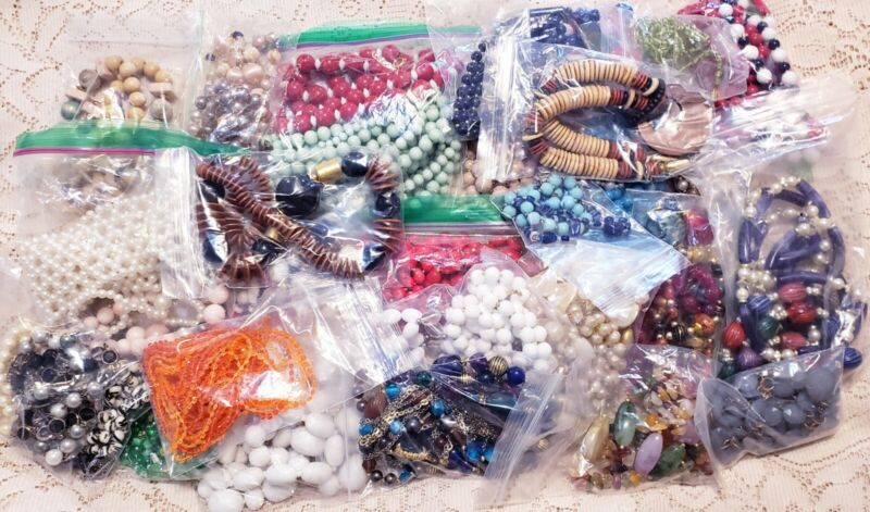 60+ Piece Vintage and Modern Mixed Style Beaded Necklace Lot