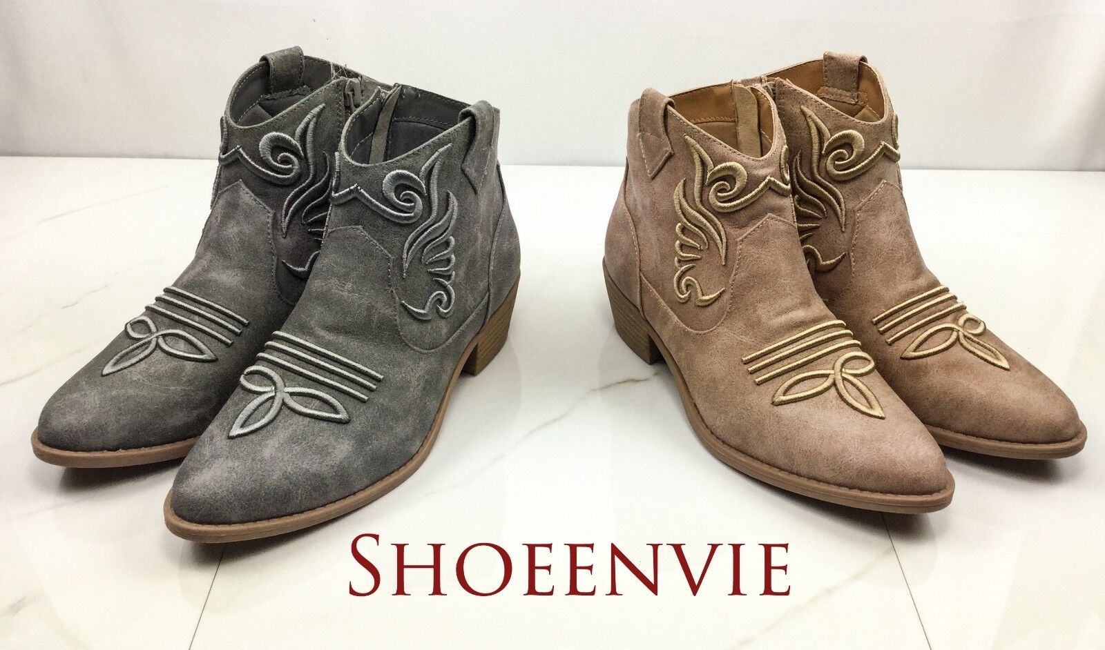 New Women Qupid Sochi Embroidered Western Cowgirl Ankle Boot