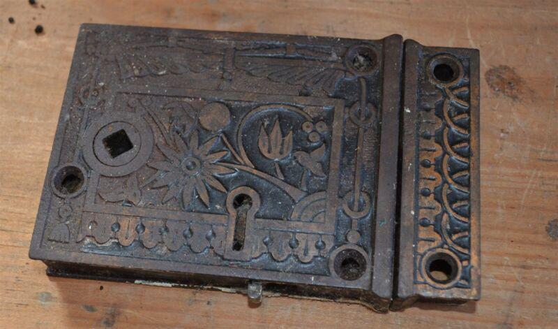 Antique Fancy East Lake Victorian Cast Iron door lock with keeper