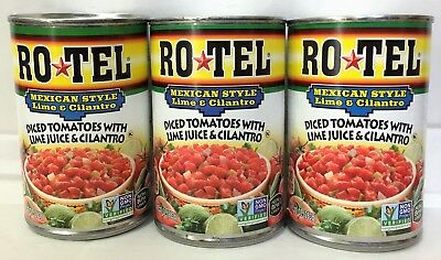 - Rotel Mexican Diced Tomatoes with Lime Juice and Cilantro 10 oz (3 Cans)
