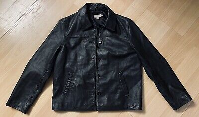 J Crew Womens Leather Jacket Button Up Black Size L PERFECT CONDITION