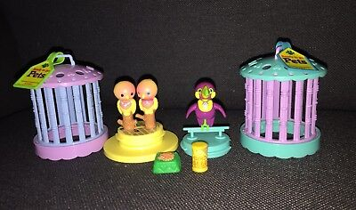 Vtg Littlest Pet Shop Jolly Toucan Bird Cage  Lovebirds Set Kenner Tags 1992