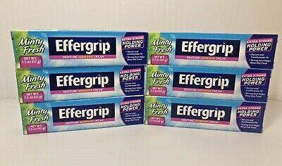 (6) Effergrip Extra Strong Denture Adhesive Cream Zinc Free Minty Fresh 1.5 oz  Effergrip Denture Adhesive Cream