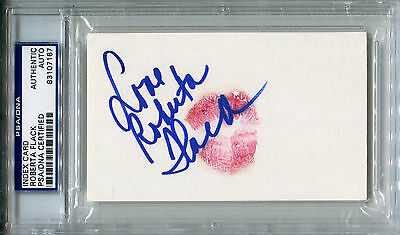 ROBERTA FLACK Signed LIP PRINT Card w/ Photo Killing Me Softly with His Song PSA