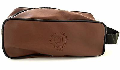 ZEVA Shaving Kit Toiletry Travel Bag Case zipper Synthetic Leather Brown Color