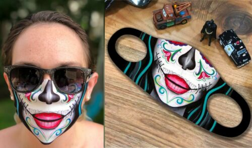 CALAVERA MAKEUP SUGAR SKULL FACE MASK COVER REUSABLE WASHABLE BREATHABLE FABRIC