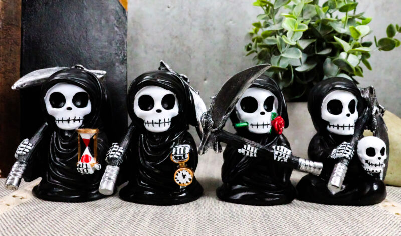 """Ebros Time Waits for No Man Mini 4"""" Tall Chibi Grim Reapers Figurines Set of 4"""