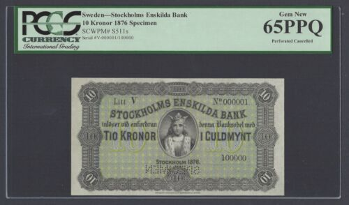 Sweden Stockholms Enskilda Bank 10 kronor 1876 PS511s Litt V Specimen UNC