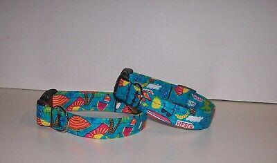 Wet Nose Designs Summer Fun Dog Collar Tropical Beach on Blue Sunglasses - Fun Dog Collars