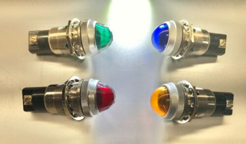 (4) Dialco Dialight GREEN Jewel + RED Jewel + Blue + Amber NOS