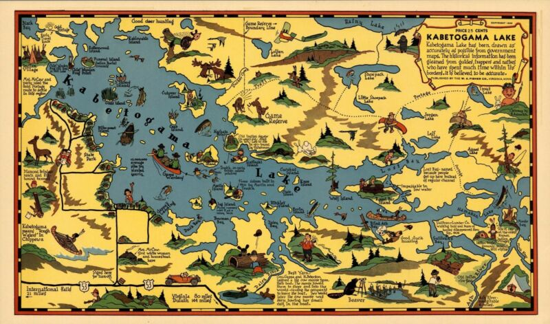 1936 pictorial map Kabetogama Lake Minnesota POSTER 8811000