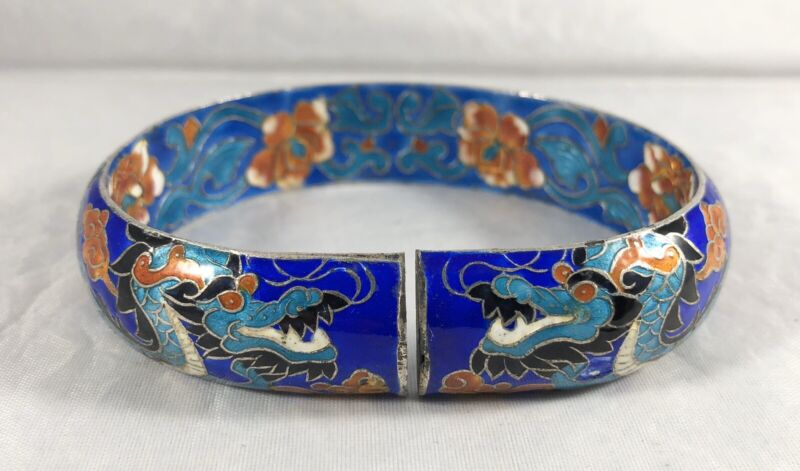 Vintage Chinese Sterling Silver Enamel Dragon Split Bangle Bracelet