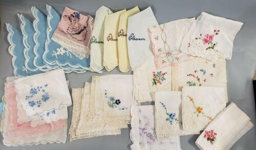 23 pc lot of vintage embroidered hankies