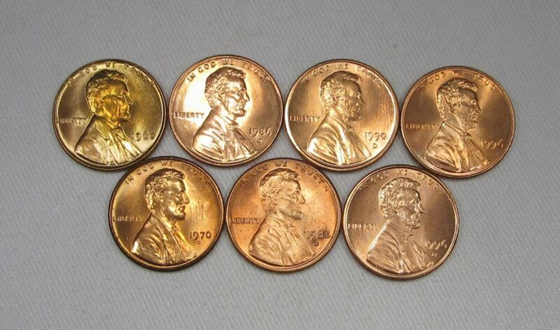 Lot of 7 Lincoln Cent Coins All Uncirculated AG90