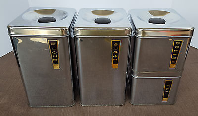 Lincoln BeautyWare Chrome Kitchen Canisters MID-CENTURY Sugar Flour Tea Coffee