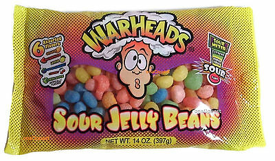 Warheads SOUR Jelly Beans 14oz Tart Tangy Assorted 6flavor candy vending extreme - Warhead Jelly Beans