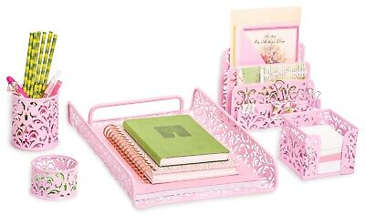 Pink 5-piece Desk Organizer Accessories Set For Home School Office More...