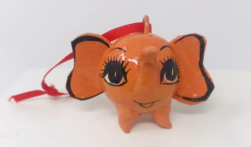"Hand Painted Ornament Orange Elephant Mexico Maestro 2.25"""