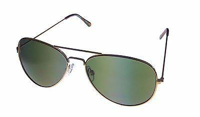 Perry Ellis Mens Sunglass Classic Gold Metal Aviator, Solid Green Lens PE47 5