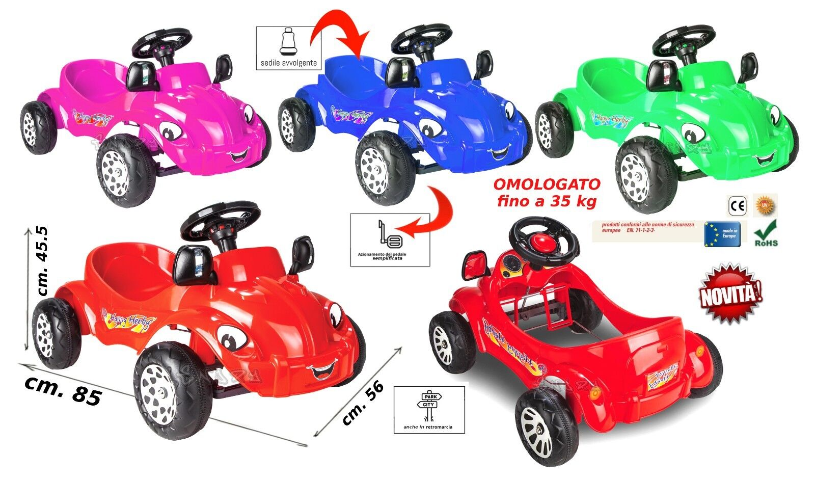 Auto für Kinder A Pedale Maschine Rot Schwimmbare Go Kart A Pedale art.665998