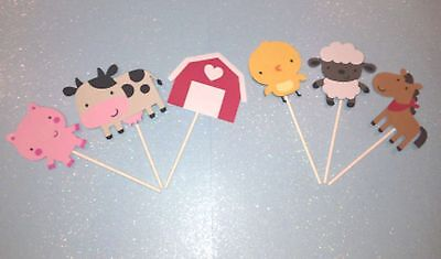FARM ANIMAL LOT OF 12 CUP CAKE TOPPERS, PARTY DECORATIONS, CENTERPIECES](Cupcake Centerpieces)