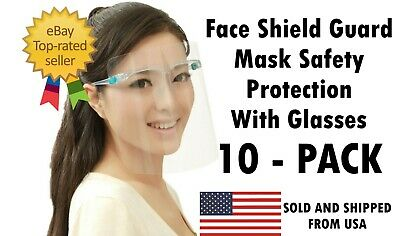 10 Pack Face Shield Guard Mask Safety Protection With Glasses