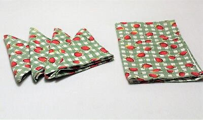 Country Farmhouse Table Napkins & Towel Set Red Strawberries Green Checkered 17