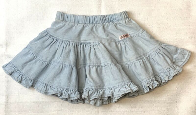 Vintage GUESS?  Size 3T   Light Blue DENIM TIERED FULL SKIRT   Distressed 1980