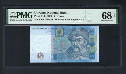 Ukraine 5 Hryven 2005 P118b Uncirculated Graded 68
