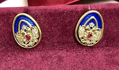 FABERGE 18K Gold Diamond & Lapis Enamel Pair of Mens Cuff Links, Romanov, Russia for sale  San Luis Obispo