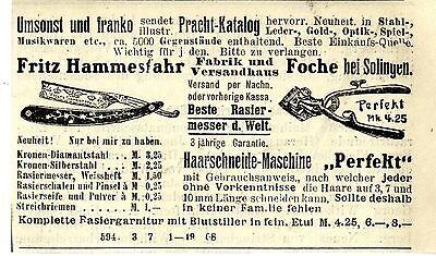 Fritz Hammesfahr Foche BESTE RASIERMESSER DER WELT Kolonialwerbung von 1908