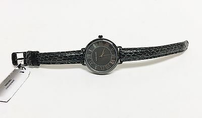 ANNE KLEIN BLACK TONE SNAKE PRINT LEATHER BAND,ROMAN NUMBERS,WATCH AK/2109GYGY Black Numbers Leather Band