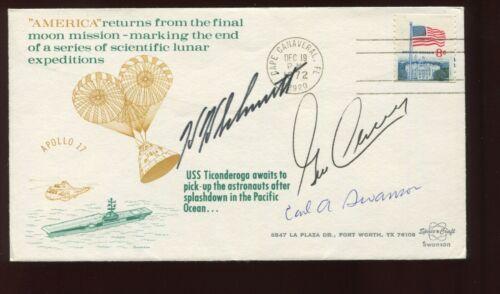 NASA ASTRONAUTS CERNAN & SCHMITT SIGNED 1972 APOLLO 17 COVER CARL SWANSON SIGNED