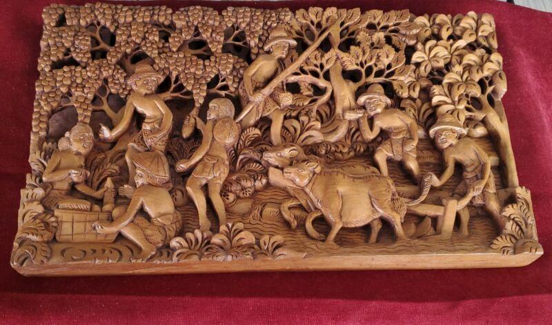 VIntage Asian Beautiful Hand Carved Wood Teak Folk Art Wall Panel - Magnificent!
